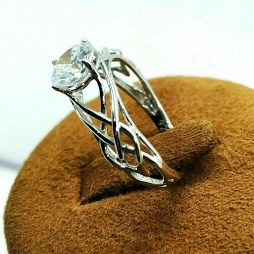 New Celtic Knot Shank Brilliant Round Solitaire Women Engagement 925 Silver Ring