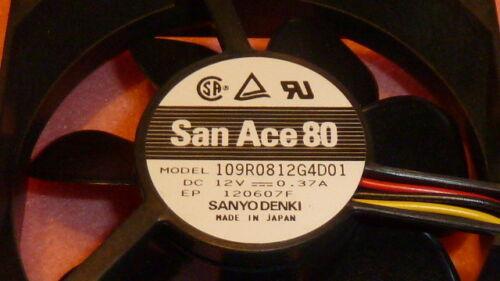 12VDC 0.37A Locked Rotor Sensor NEW SANYO 109R0812G4D01 DC Fan 80 x 25 x 80mm