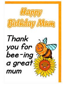 Carino Bel Fiore Ape Mamma Biglietto Di Auguri Compleanno