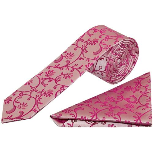Fuchsia Floral Skinny Boys Tie and Handkerchief Set Wedding Christening Prom Set