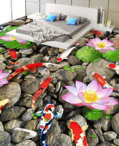3D Lotus Stone Fish 6 Floor WallPaper Murals Wall Print 5D AJ WALLPAPER UK Lemon