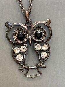 "Vintage Bohemian Crystal Owl  Charm Key Spirit Animal Boho  Pendant Necklace 36"""