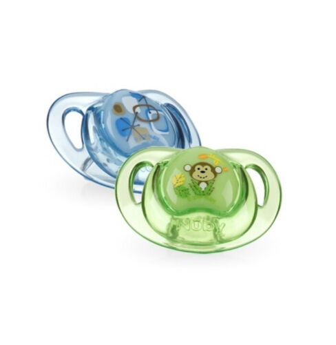 Nuby Prism Pacifiers 2 pack with case 3 different colors