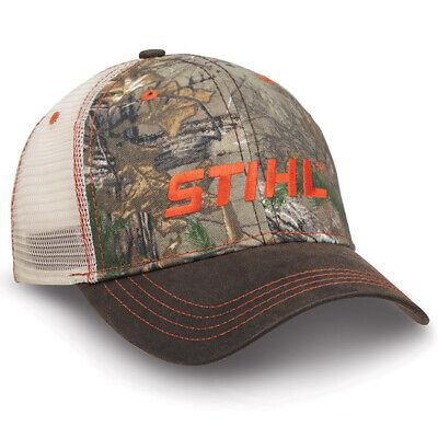 Stihl Realtree Max-4 Camo /& Brown Hat Cap w Orange Stitching /& Embroidered Logo