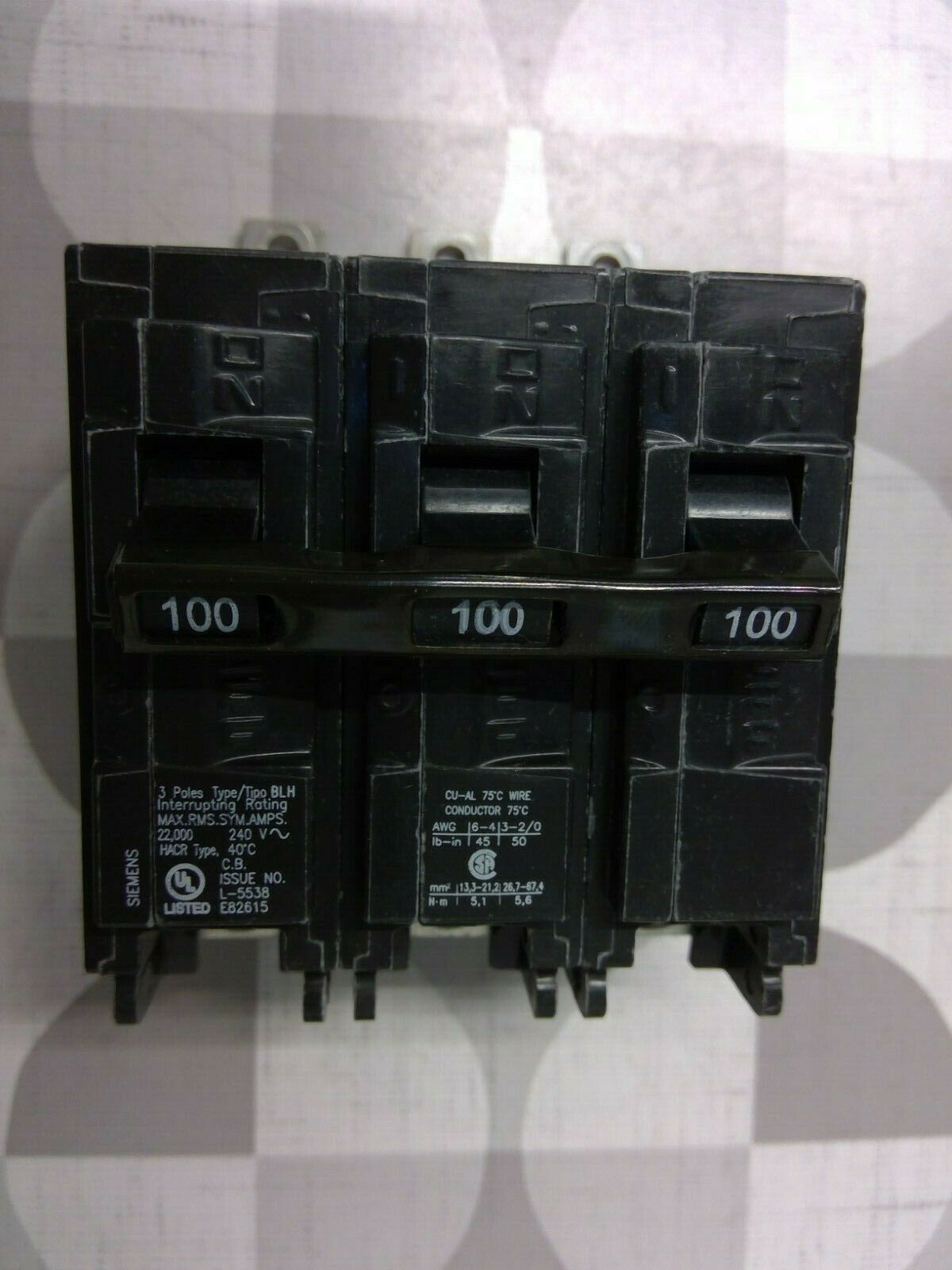 Siemens B3100H 100 Amp 240 Volt Bolt On Circuit Breaker WARRANTY