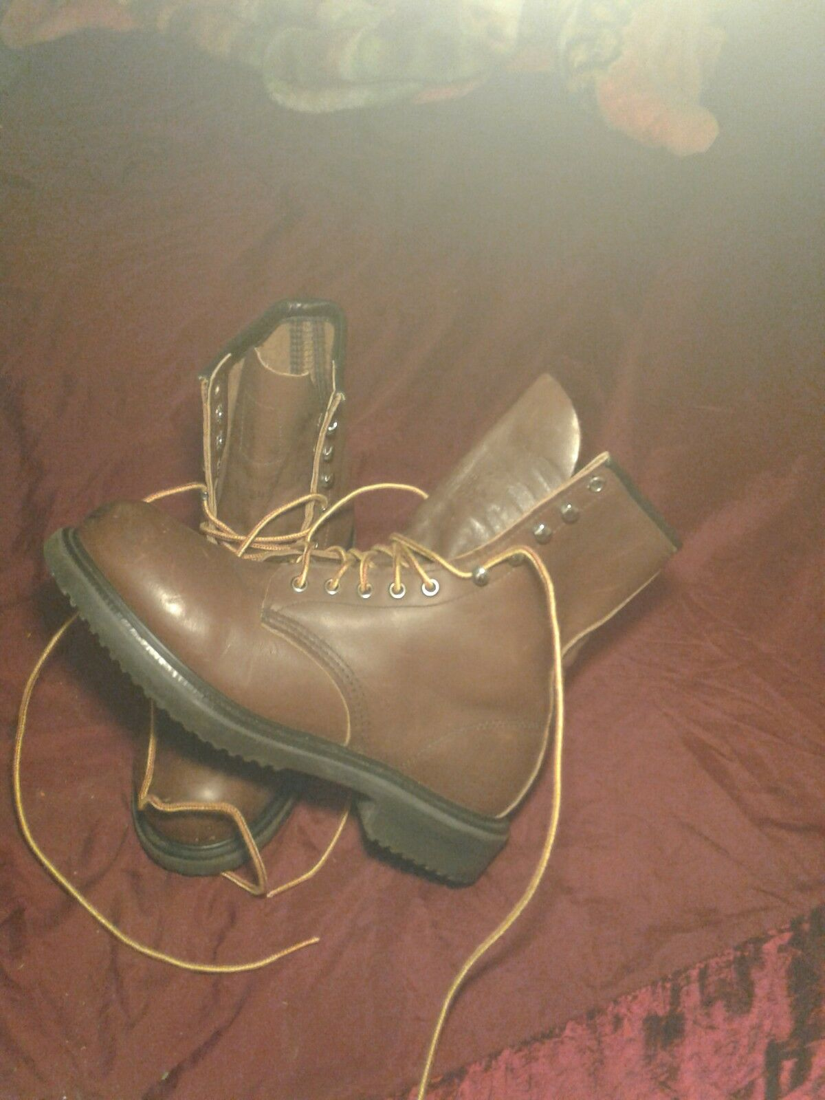 VTG RED WING BOOTS SIZE 6.5 WORK STEEL TOE CHUKKA BROWN COLOR USA MADE