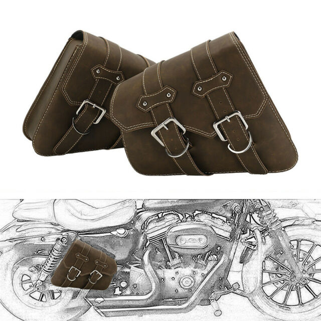 Motorcycle PU Leather Side Bag Saddle Bags Black For Sportster Kawasaki