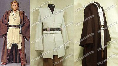 Star Wars Jedi Master Obi-Wan Kenobi Ben Tunic Outfit Cosplay Costume+Cloak//Robe
