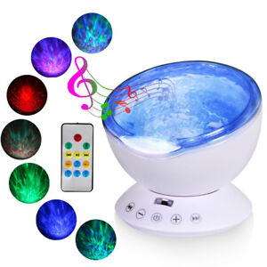 Relaxing Projector Music Ocean Wave LED Night Light Remote Lamp Kids Sleep Gift 192189254807