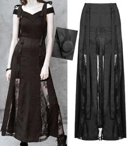Jupe-longue-bretelles-robe-gothique-punk-lolita-dentelle-fendu-soiree-PunkRave