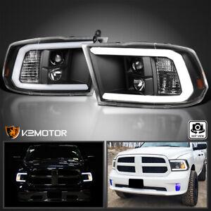 For 2009-2018 Dodge Ram 1500 2500 3500 Black Projector Headlights+LED Strip Bar