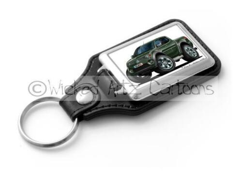 RetroArtz Cartoon Car Mitsubishi L-200 Pick Up in Green Classic Key Ring