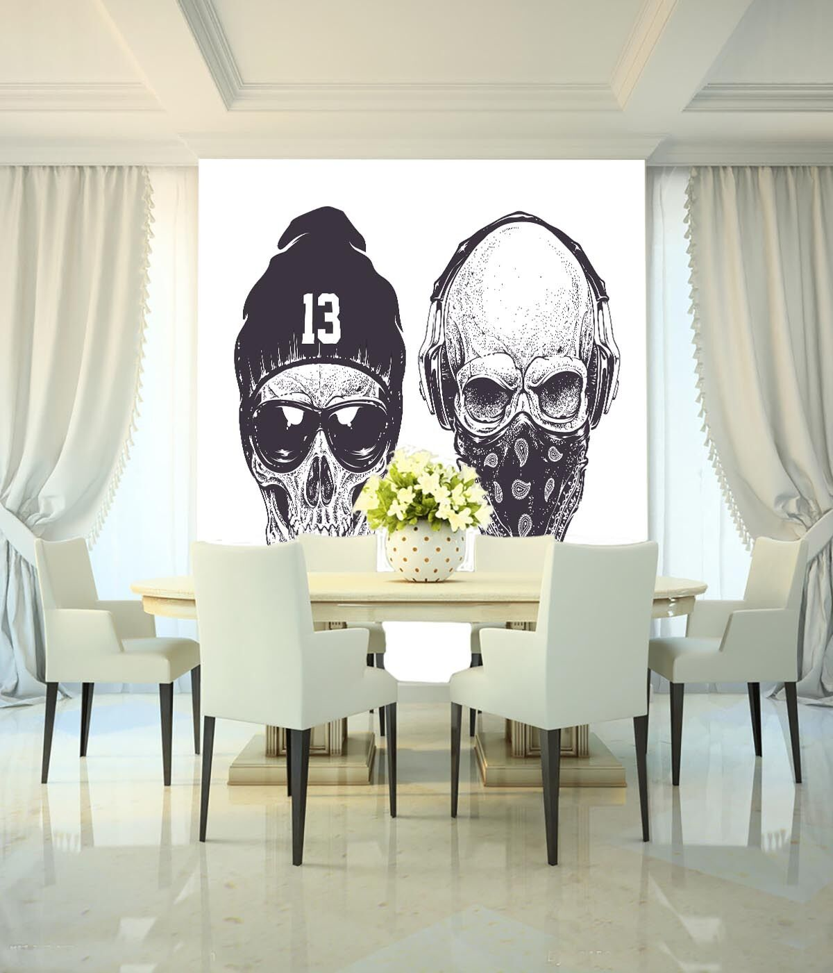 3D Fashion Skull Heads Wall Paper Wall Print Decal Wall Deco Wall Indoor Murals