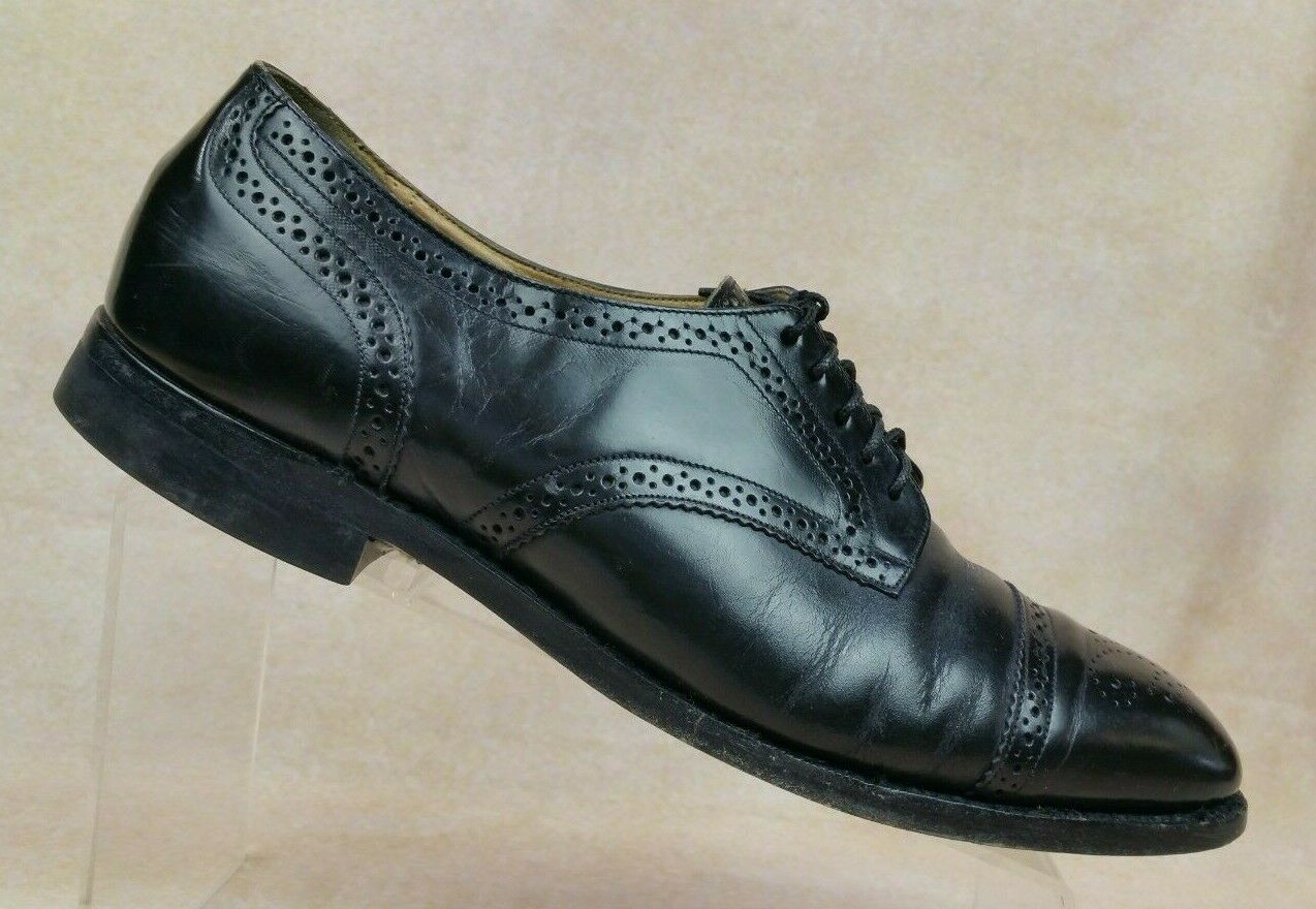 Johnston & Murphy Optima Black Leather Brogue Cap Toe Oxfords 38575 Men's 9 D