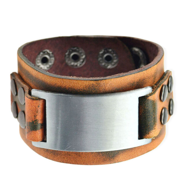 Mens Retro Punk Wide Genuine Leather Wrap Wristband Alloy Cuff Bangle Bracelet