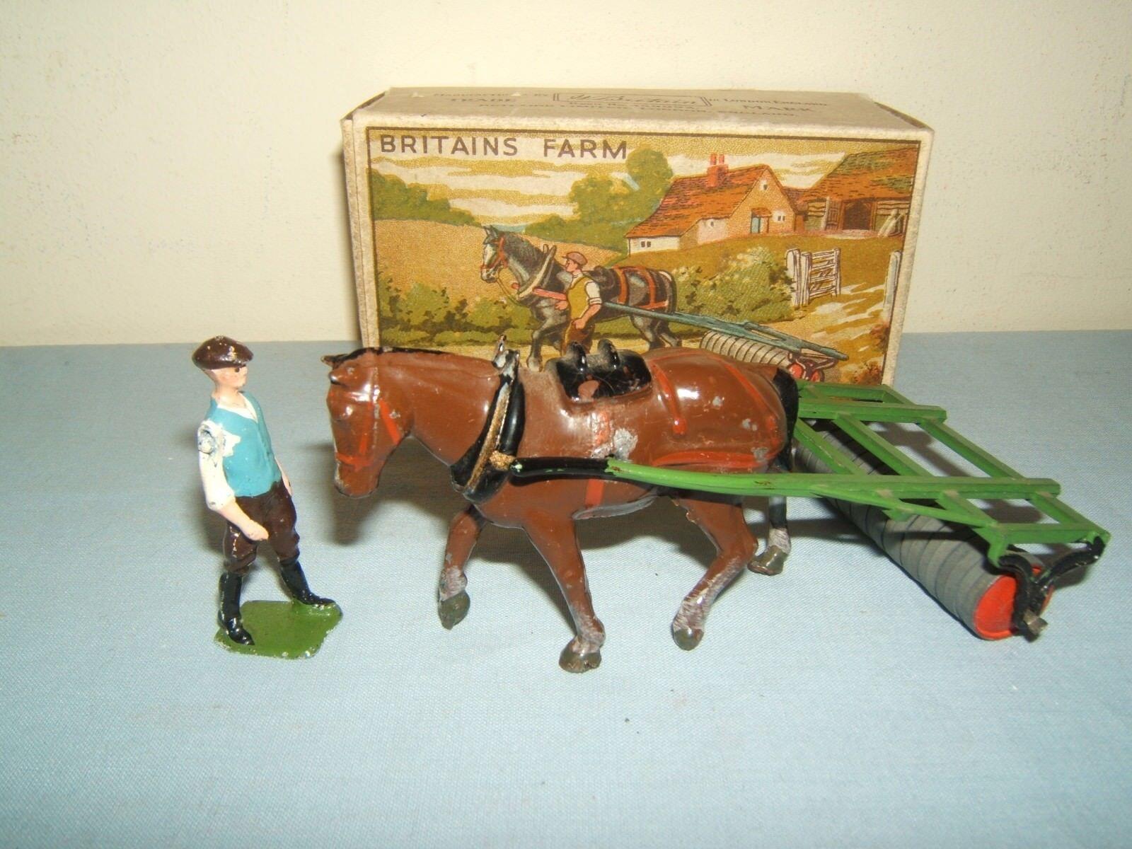 VINTAGE Britains modello No.9F  Cavallo Roller & Man  Nuovo di zecca con scatola