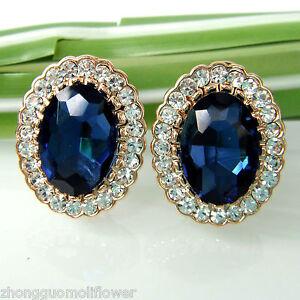 Navachi-18K-GP-Crystal-Oval-Blue-Zircon-Stud-Omega-Earrings-BH1689