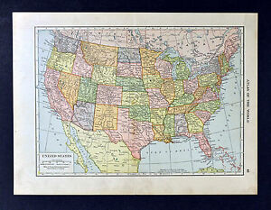 1911 Hammond Map - United States of America - Washington DC Texas ...