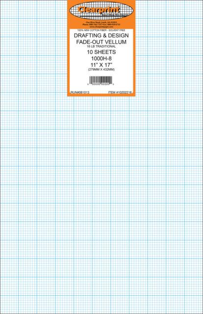 CHARTPAK 10201210 CLEARPRINT 1000H SERIES CP 8.5 X 11 UNPRINTED VELLUM 10-SHE...