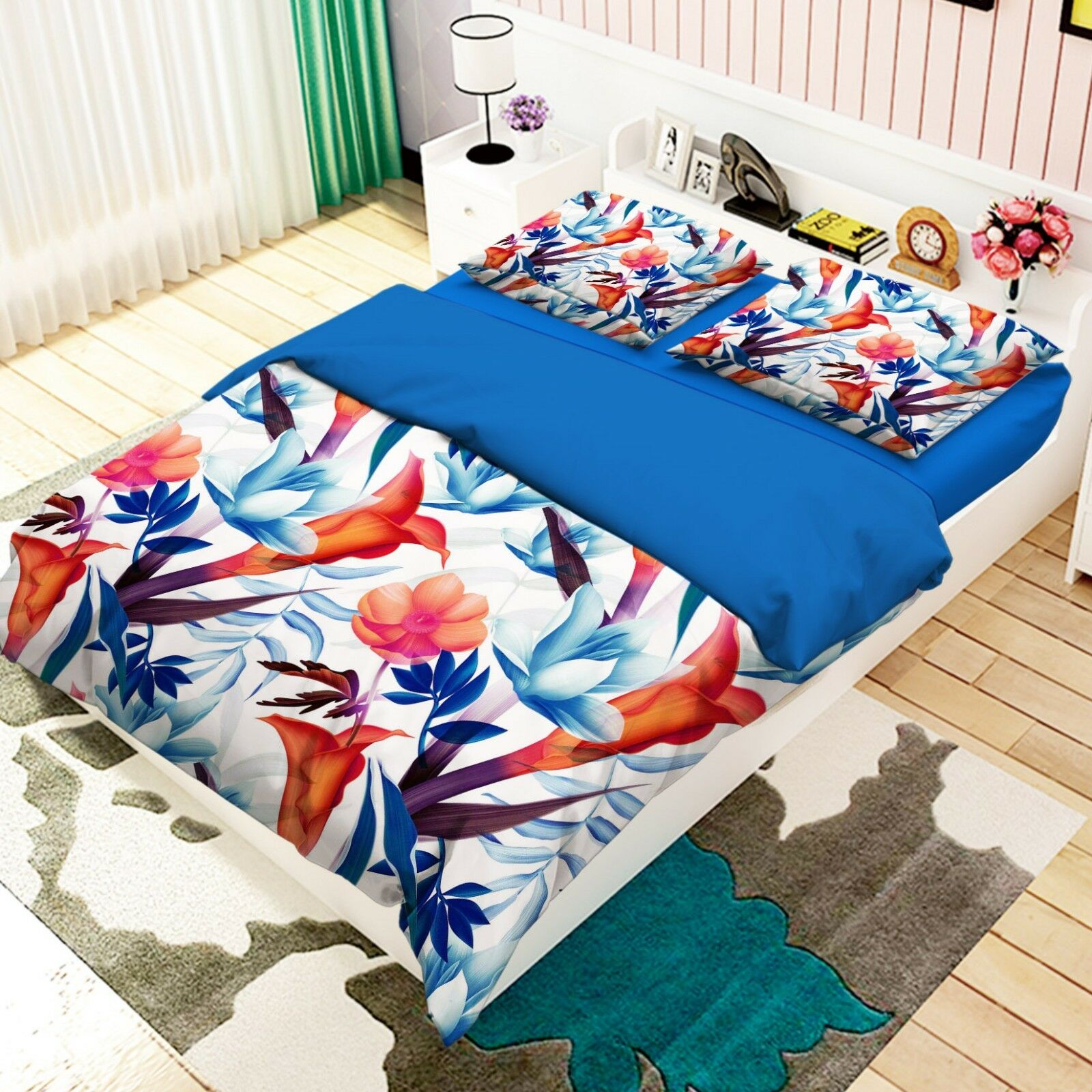 3D Flowers Leaf Paint 26 Bett Pillowcases Quilt Duvet Single Königin König US Summer