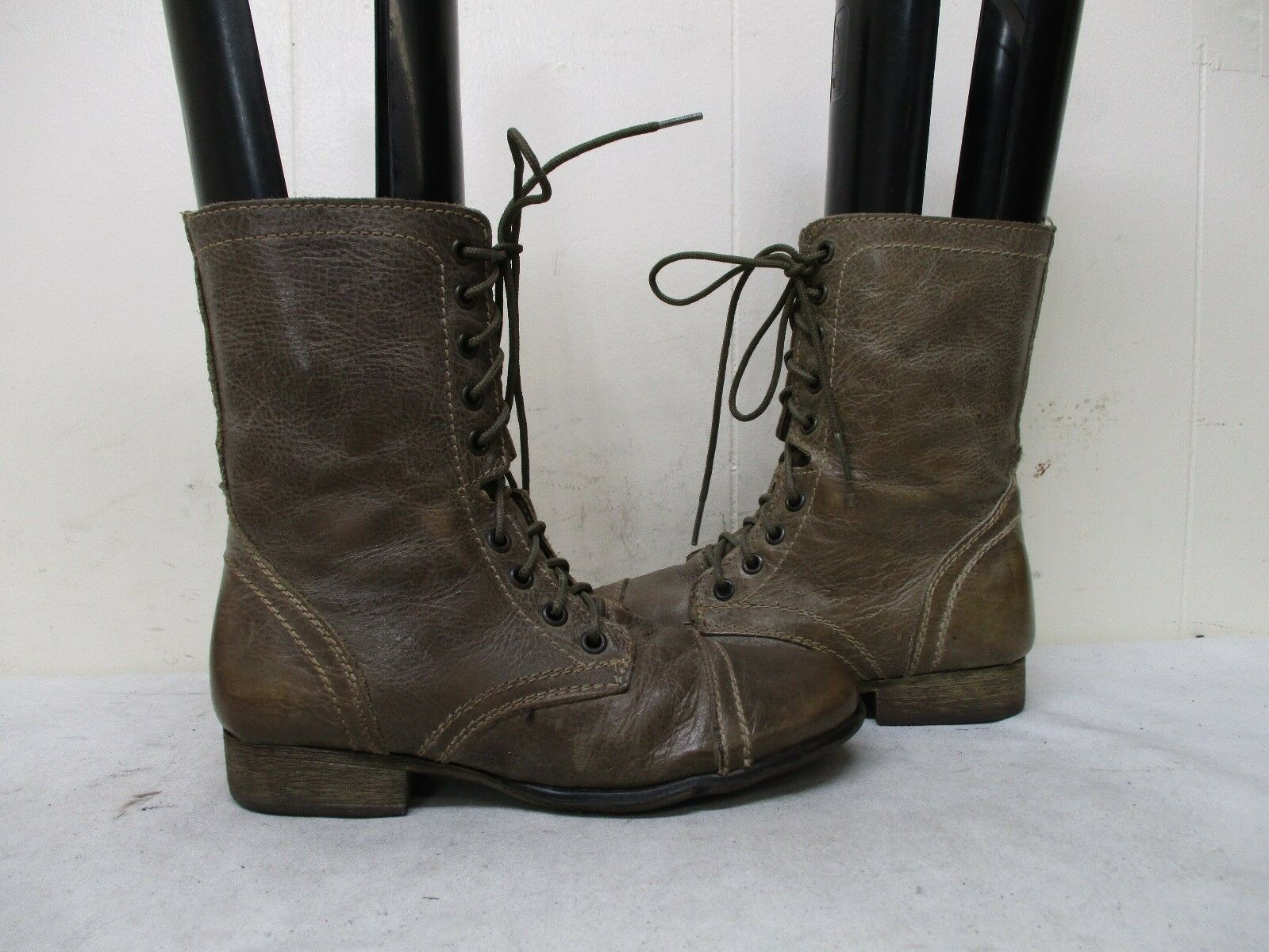 Steve Madden Troopa Stone Leather Zip Lace Combat Fashion Boots Size 6.5 M