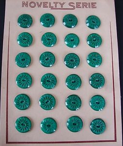 """1930/'s 24 Jade Green 2-hole Flat Back Pin Wheel 3//4/"""" Casein Vintage Buttons"""