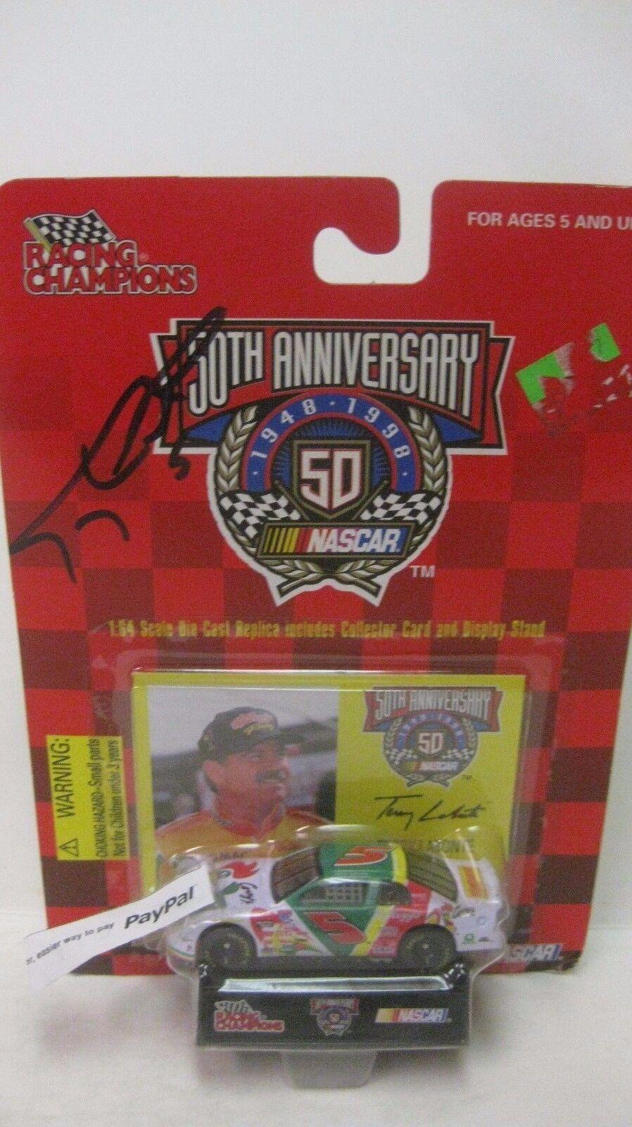 Nascar 50th Anniversario Terry Labonte Autografato Chevy 1 64 Pressofuso Nuovo