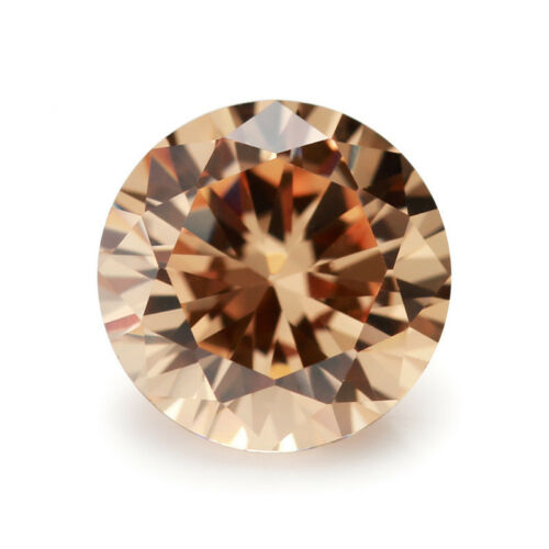 Unheated Champagne Sapphire 11.16Ct 12mm Round Shape AAAAA Loose Gemstone