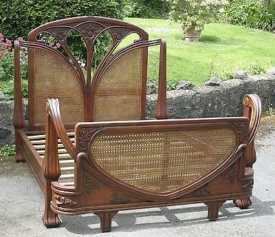 Mahogany And Rattan 5' King Size Art Nouveau French Louis Antique Style Bed Beds & Mattresses