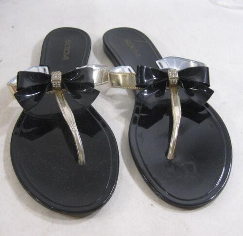 NEW  Black Womens Summer Beach Retro Slip On Flat Jellies Jelly Sandal Size 10