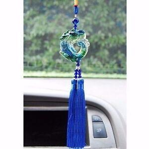 blue auto car mirror pendant decor accessories crystal glass hanging ornament ebay. Black Bedroom Furniture Sets. Home Design Ideas