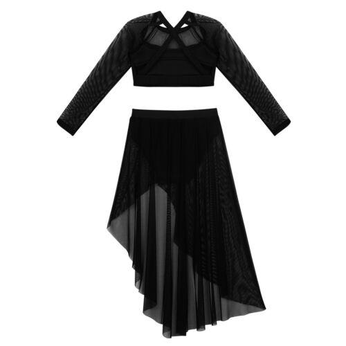 Girl Lace Lyrical Dancewear Praise Dress Modern Party Crop Top+Tutu Skirt Outfit