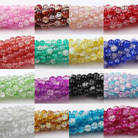 LOTS  6MM 50/100/200Pcs Round Czech Glass Crack Craft Crystal Spacer Beads