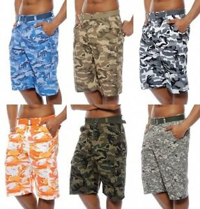 Men's TRUE ROCK cargo camo digital shorts green blue khaki with ...