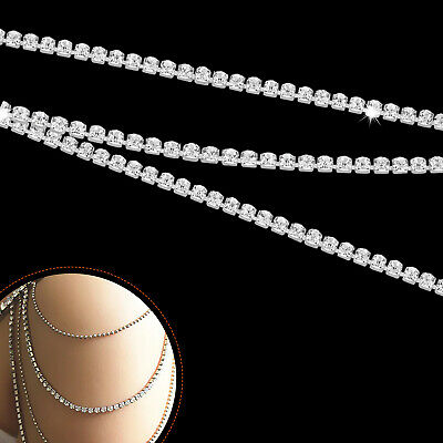 10m Diamante Studed Chain Sparkling Rhinestones for Making Bridal Jewelry Crafts