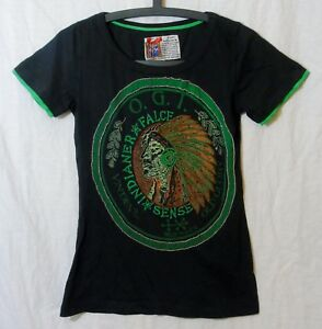 NEW-Womens-Old-Glory-Charcoal-Grey-Native-American-Beaded-T-Shirt-Top-Size-10