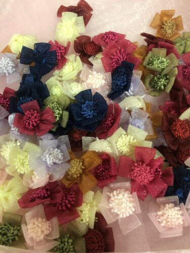 """3//4/""""-1/"""" Organza Sheer Flower Applique Sewing Craft 100 Mixed Colors 204C"""