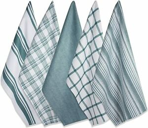 Fresh-Teal-amp-White-Plaid-Striped-and-Solid-Kitchen-Dish-Towels-Cotton-Set-of-5