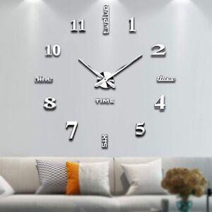 Details zu Wanduhr Deko Spiegel Wandtattoo 3D Disign Wand Uhr Wohnzimmer  XXL Große Uhr HOT