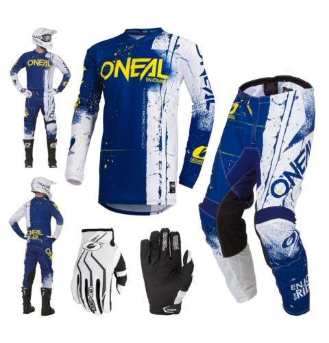 Oneal Kinder Element Combo S19 blau weiss Shred Enduro MX Crosshose Shirt Glove