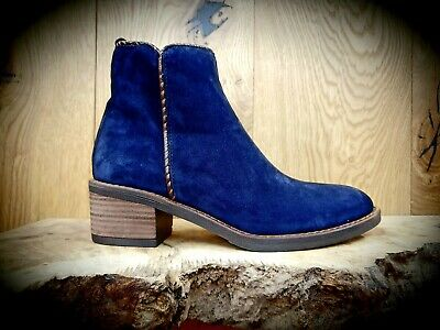 Womens Navy Blue Suede Ankle boots