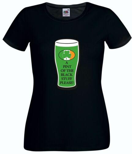 ST PATRICK/'S DAY A PINT OF THE BLACK STUFF T SHIRT ST PATRICKS DAY IRISH IRELAND