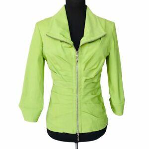 JOSEPH RIBKOFF Women's Size 6 Green 3/4 Sleeves Collard Stretch Zipper Jacket