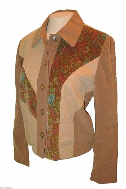 New Blazer, Doncaster, Brown Velour Denim Asymmetrical Patchwork Cotton-Tencel 8