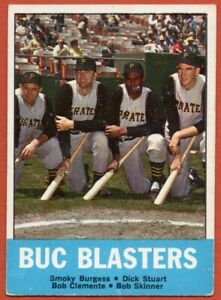 1963-Topps-18-Buc-Blasters-VG-VGEX-Roberto-Clemente-Burgess-FREE-SHIPPING