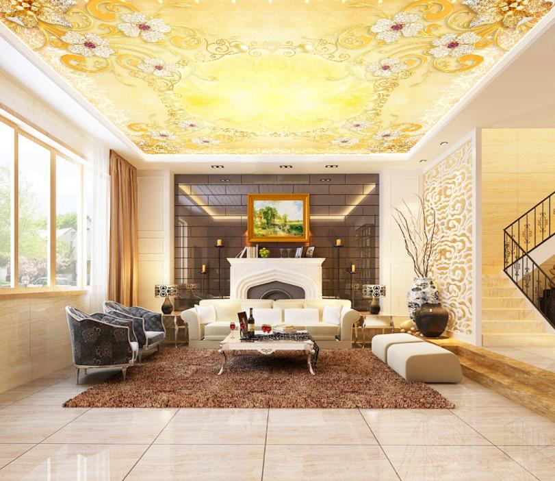 3D Golden Flower 4511 Ceiling Wall Paper Print Wall Indoor Wall Murals CA Carly