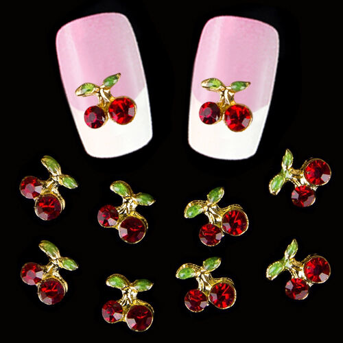 On Sale 10pcs 3D Cherry Nail Art Rhinestone Studs Manicure Glitters DIY Tips YA3