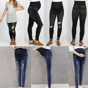 Womans-Pregnant-Ripped-Jeans-Maternity-Pants-Trousers-Nursing-Prop-Belly-Legging
