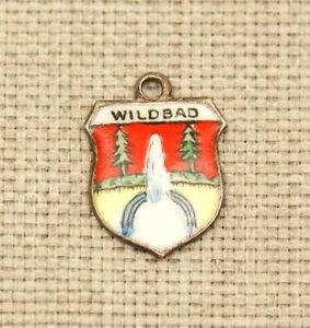 Silber-WILDBAD-Bettelarmband-Anhaenger-Wappen-silver-pendant-travel-shield-charm