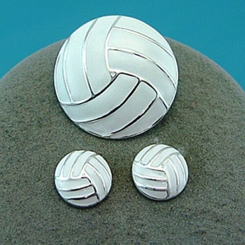 Free shipping Volleyball Enameled White Pin and Earrings Set